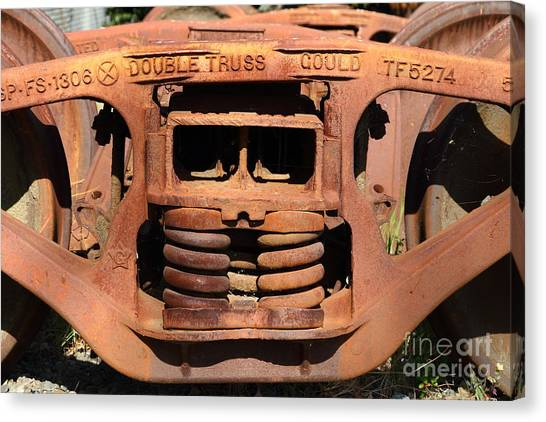 Old Double Truss Train Wheel . 7d12855 Canvas Print by Wingsdomain Art and Photography