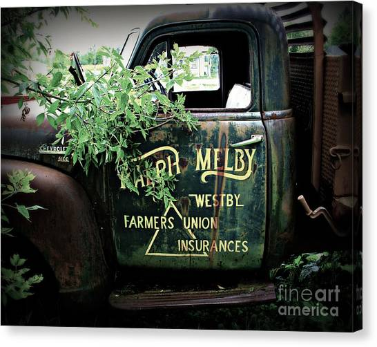 Dump Trucks Canvas Print - Old Farmers Union Truck by Perry Webster
