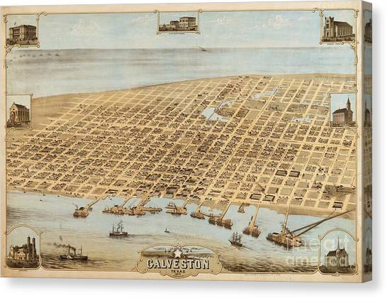 Old Galveston Map Canvas Print by Roberto Prusso