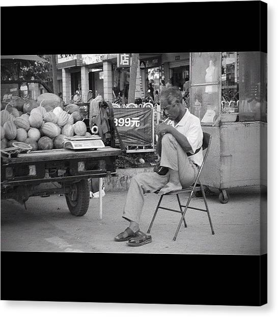 Watermelons Canvas Print - #old #guy #smoking #china #watermelon by Anthony Wang