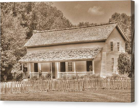 Old House In The Cove Canvas Print by Barry Jones