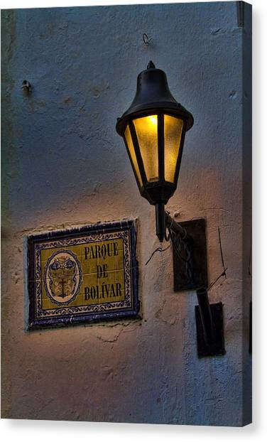 Colombian Canvas Print - Old Lamp On A Colonial Building In Old Cartagena Colombia by David Smith