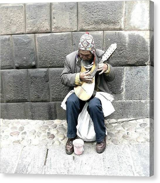 Peruvian Canvas Print - #old #man Playing #music In #cuzco #peru by Yannick Menard