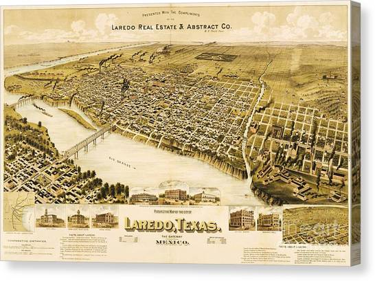 Old Map Laredo Texas Canvas Print by Pg Reproductions