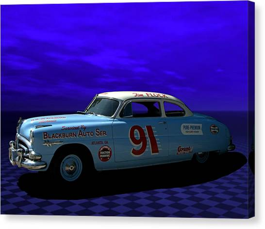 Stock Cars Canvas Print - Old Number 91 by Tim McCullough