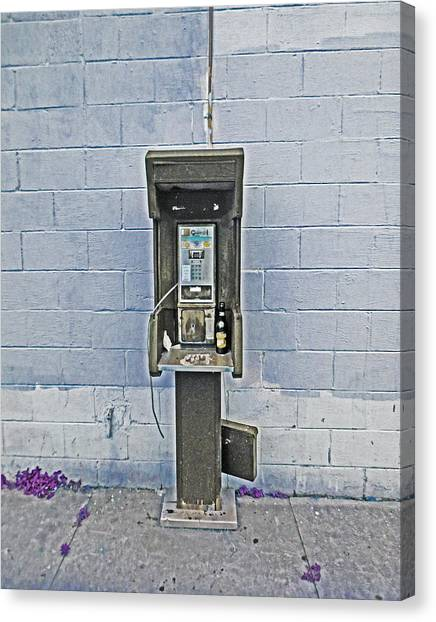 Old Pay Phone In New Orleans Canvas Print