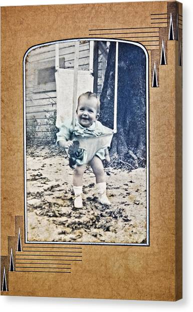 Old Photo Of A Baby Outside Canvas Print