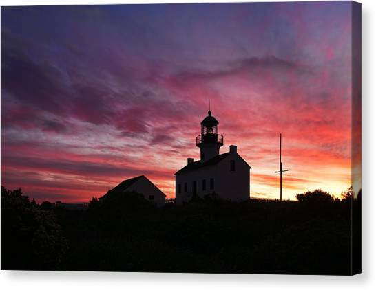 Old Point Loma Lighthouse Sunset Canvas Print