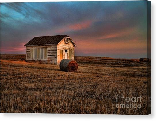 Old Prairie School At Sunrise Canvas Print