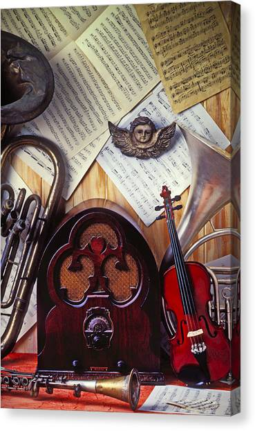 Clarinets Canvas Print - Old Radio And Music Instruments by Garry Gay