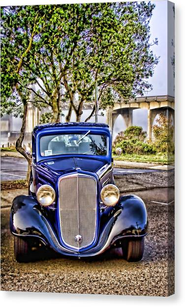 Vintage Hotrod Canvas Print - Old Roadster - Blue by Carol Leigh