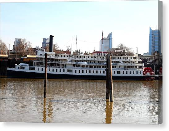Sacramento Kings Canvas Print - Old Sacramento California . Delta King Hotel . Paddle Wheel Steam Boat . 7d11434 by Wingsdomain Art and Photography