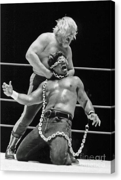 Old School Wrestling Chain Match Between Moondog Mayne And Don Muraco Canvas Print