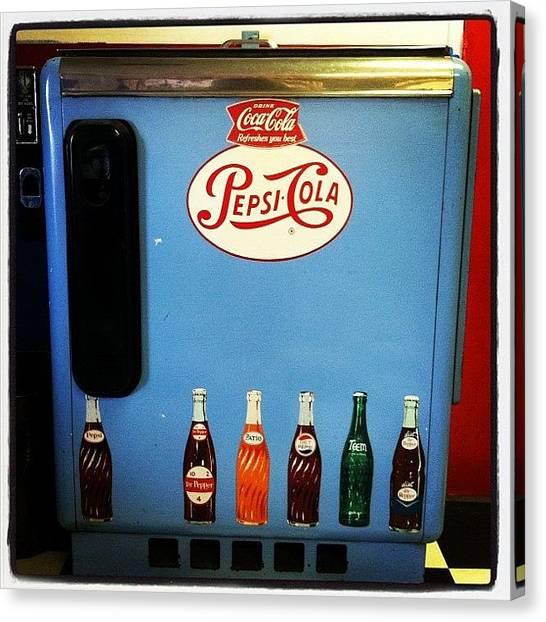 Pepsi Canvas Print - Old Soda Machine #drinks #soda #pepsi by Tyler Phillips