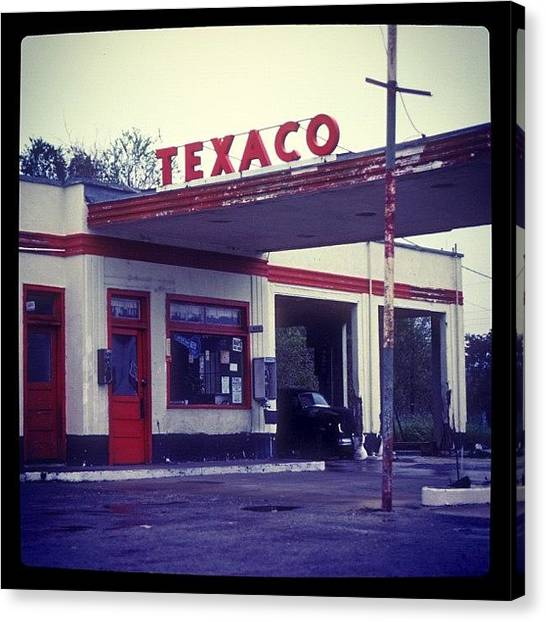 Art Deco Canvas Print - Old Texaco Filling Station In Beeville Texas by Pauline Walsh Jacobson
