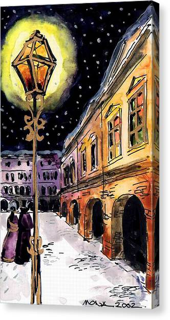 Night Lights Canvas Print - Old Time Evening by Mona Edulesco