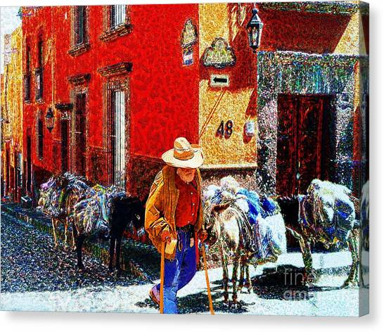 Old Timer With His Burros On Umaran Street Canvas Print