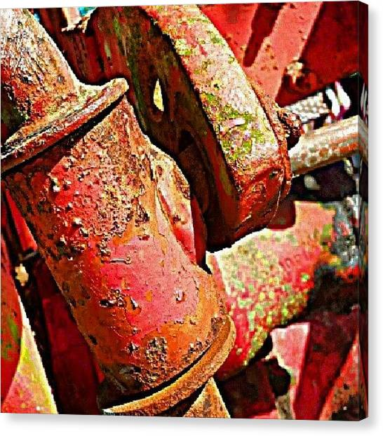 Equipment Canvas Print - Old Tractor by Elisa Franzetta