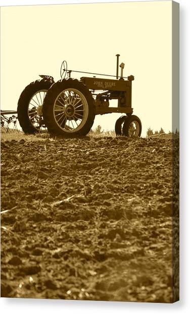 Old Tractor I In Sepia Canvas Print