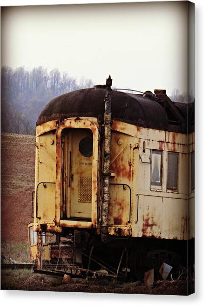 Old Train Car Canvas Print by Brenda Conrad