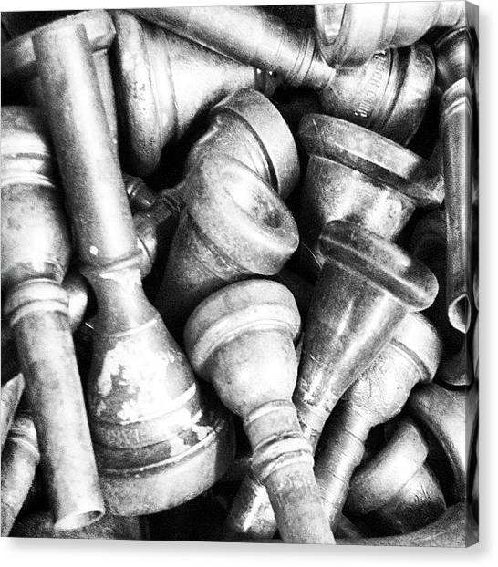 Head Canvas Print - Old Trumpet Mouthpieces 2 by Ken Powers