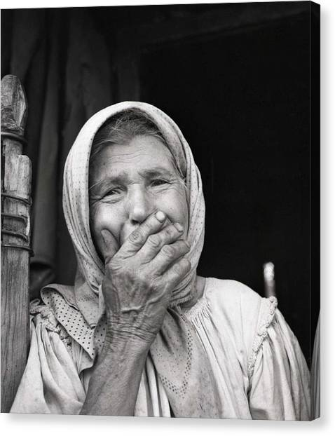 Old Woman From Maramures Romania Canvas Print by Emanuel Tanjala