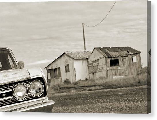 Olds Cutlass 63 Headlights And Huts Bw Canvas Print by Philippe Taka