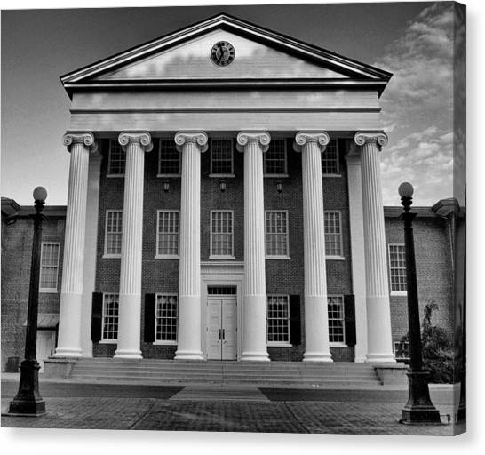 Ole Miss Lyceum Black And White Canvas Print
