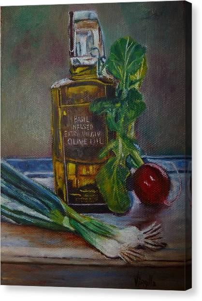 Olive Oil With Onions And Radish Canvas Print by Virgilla Lammons