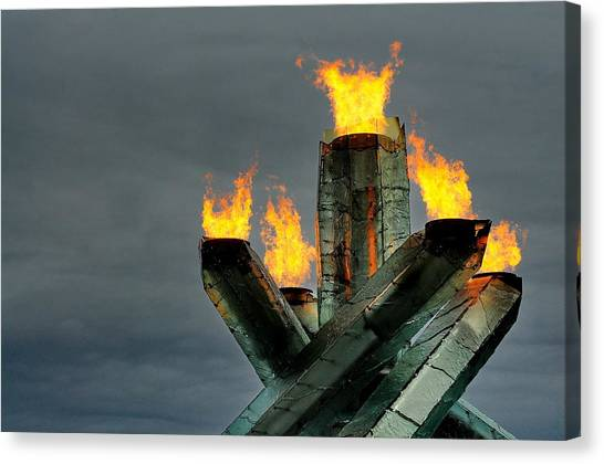 Olympic Cauldron Canvas Print by Sandra Sigfusson