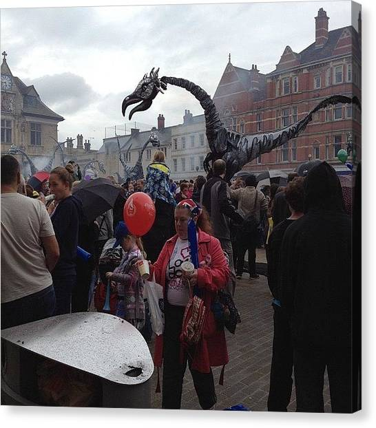 Dragons Canvas Print - #olympictorch Peterborough Celebrations by Cathy Truelove