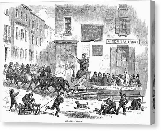 Sleds Canvas Print - Omnibus Sleigh, 1865 by Granger