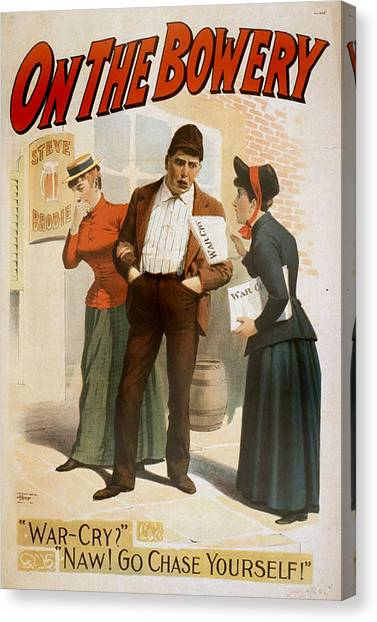 Salvation Army Canvas Print - On The Bowery, A Salvation Army Soldier by Everett