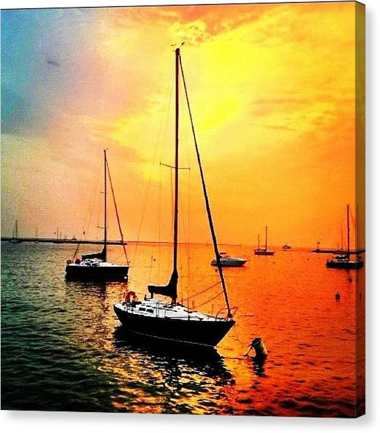 Sailboats Canvas Print - On The Lake!  #lake #lakemichigan by David Sabat