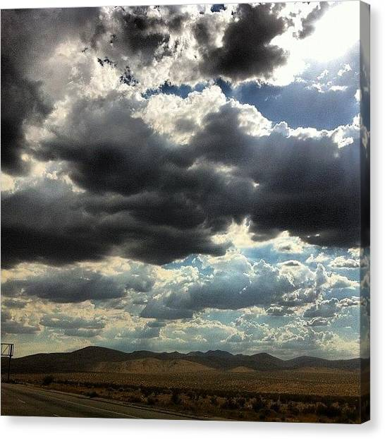 Interstates Canvas Print - On The Road Home #clouds #cloud #storm by Alex Santiago
