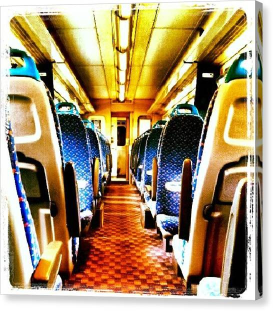 Norfolk Canvas Print - On The Train #train #seats #door by Invisible Man