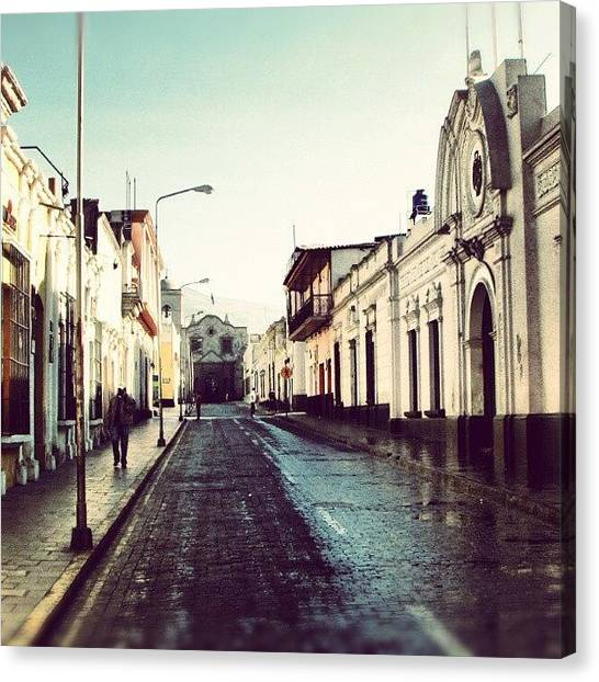 Peruvian Canvas Print - One #beautiful #street In #arequipa by Yannick Menard