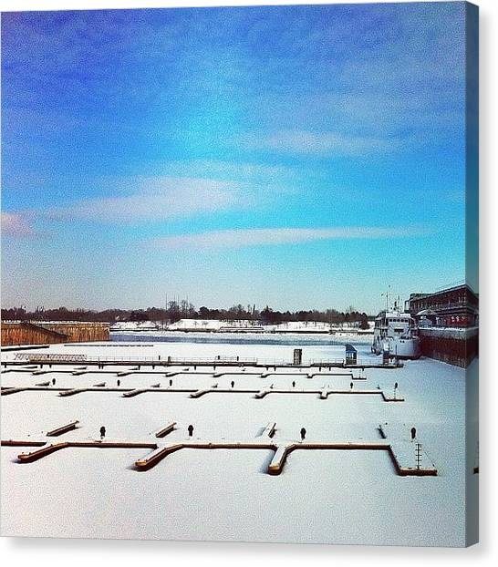 Marinas Canvas Print - One Boat Surviving Winters Freezing by Jorge InstaRevolution