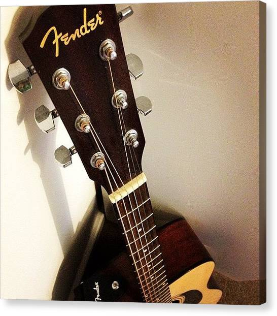 Fender Guitars Canvas Print - One Day Soon I Will Learn To Play by Ady Griggs