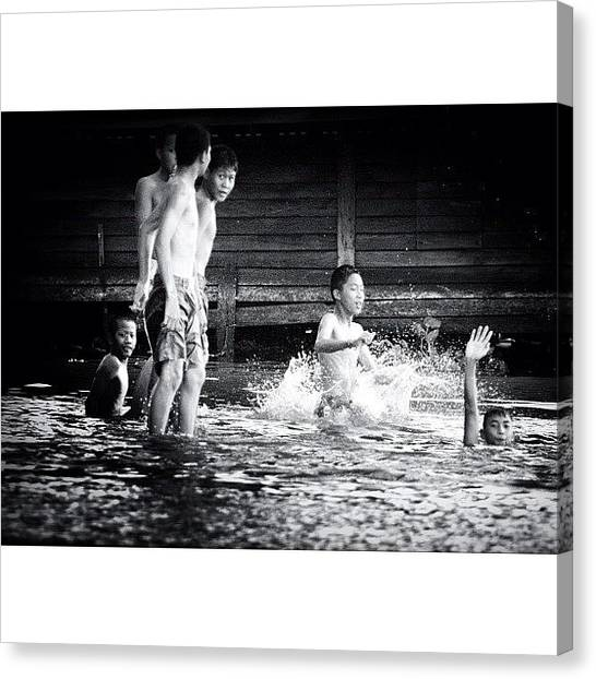 Swimming Canvas Print - One Hot Day In Bangkok..#travel by A Rey