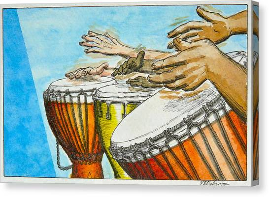 Djembe Canvas Print - One Song Many Hands by Vic Delnore