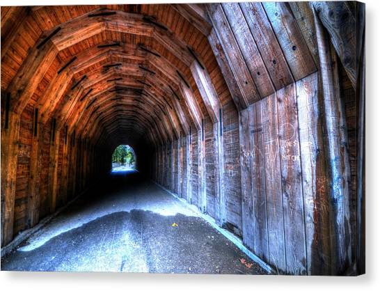 Canvas Print featuring the photograph Oneonta Gorge Tunnel by Matt Hanson