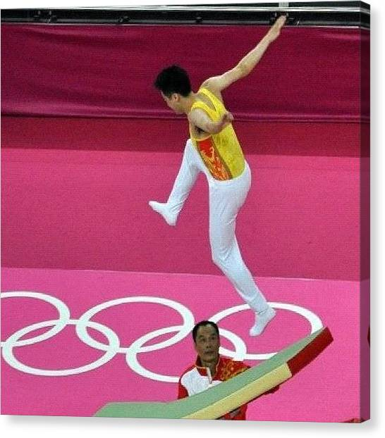 Trampoline Canvas Print - Oops #london2012 #london #olympics by Nerys Williams