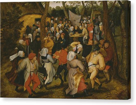 Bagpipes Canvas Print - Open Air Wedding Dance by Pieter the Younger Brueghel