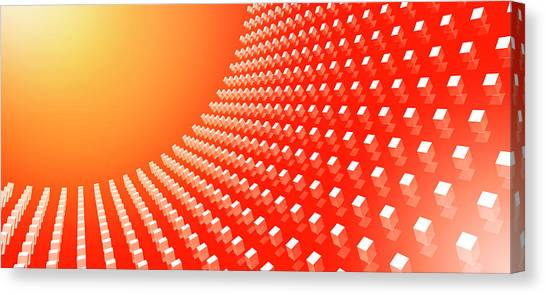Orange Abstract Cubes In A Curve Canvas Print