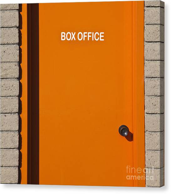 Orange Canvas Print - Orange Box Office Door by Paul Edmondson
