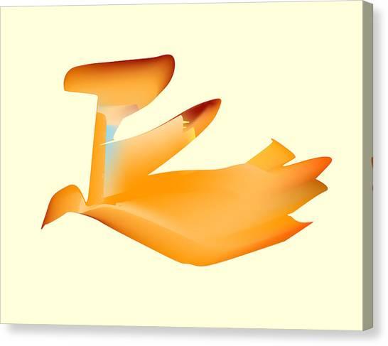 Orange Jetpack Penguin Canvas Print