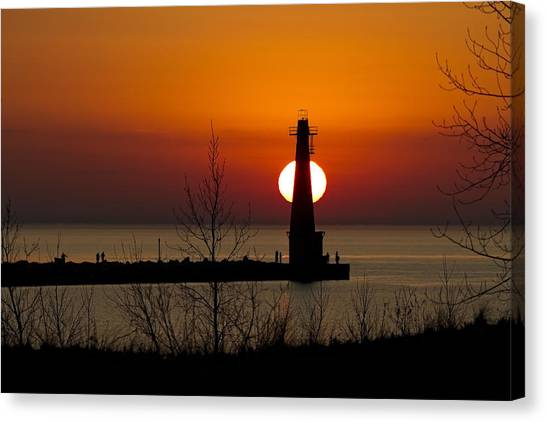 Lake Michigan Canvas Print - Orange Muskegon Sunset by Joe Gee