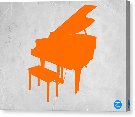 Stringed Instruments Canvas Print - Orange Piano by Naxart Studio
