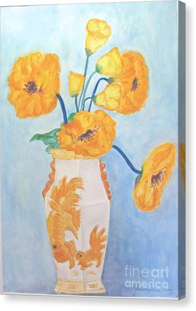 Orange Poppies In Water Color Canvas Print